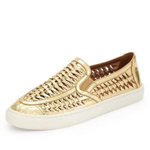 Tory Burch Huarache Slip On Sneakers Metallic Gold